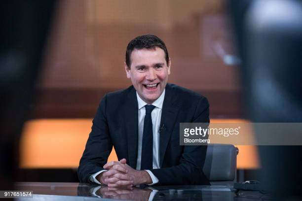 Alexandre Ricard chief executive officer of Pernod Ricard SA reacts during a Bloomberg Television interview in London UK on Tuesday Feb 13 2018...