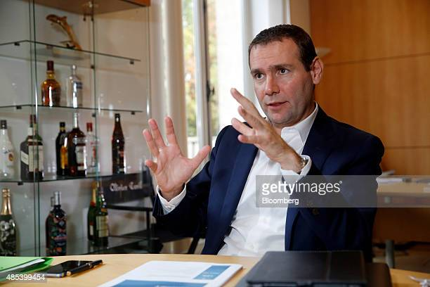 Alexandre Ricard chief executive officer of Pernod Ricard SA speaks during an interview at the company's headquarters in Paris France on Thursday Aug...