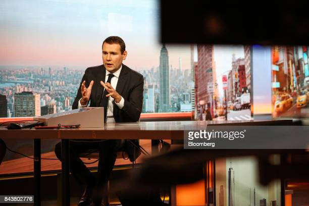 Alexandre Ricard chief executive officer of Pernod Ricard SA speaks during a Bloomberg Television interview in New York US on Thursday Sept 7 2017...
