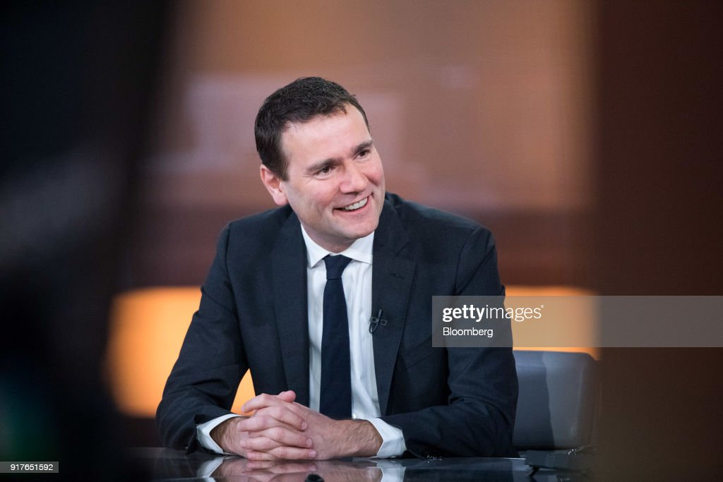 Alexandre Ricard, chief executive officer of Pernod Ricard SA, speaks during a Bloomberg Television interview in London, U.K., on Tuesday, Feb. 13, 2018. Pernod Ricard is monitoring the cannabis industry closely, Ricard said during the interview. Photographer: Chris Ratcliffe/Bloomberg via Getty Images
