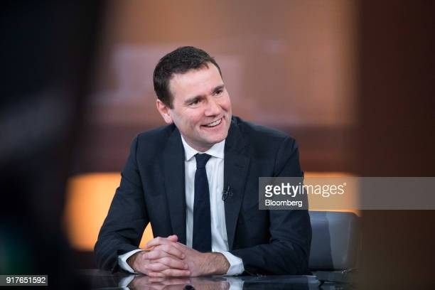 Alexandre Ricard chief executive officer of Pernod Ricard SA speaks during a Bloomberg Television interview in London UK on Tuesday Feb 13 2018...