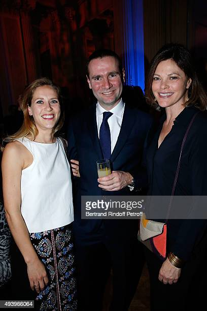 Alexandre Ricard with his partner Gabrielle and Actress Alexandra Kazan attends 'Le Bal Jaune 2015' Dinner Party At Hotel Salomon de Rothschild...