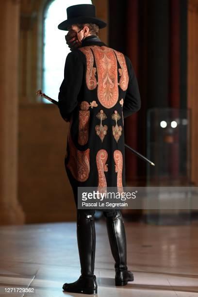 """Alexandre Risso, Il Medico character poses for the """"Il Medico Della Peste"""" 2020/2021 Winter Franck Sorbier Haute Couture Maitre collection at the..."""