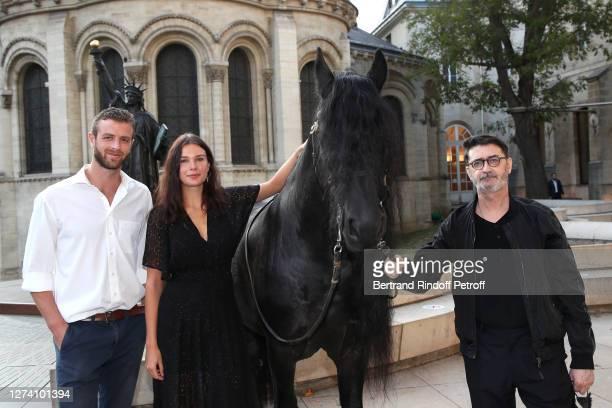 "Alexandre Risso, Jeade Pasquier and Franck Sorbier and the horse Minos attend the ""Il Medico Della Peste"" Franck Sorbier Haute Couture Pieces Uniques..."