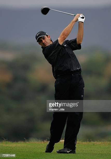 Alexandre Rocha of Brazil tees off on the seventh hole during the sixth round of the European Tour Qualifying School Final Stage at The San Roque...