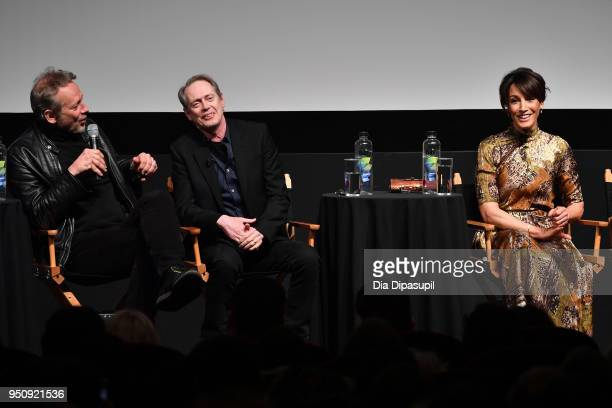 Alexandre Rockwell Steve Buscemi and Jennifer Beals speak onstage at the screening of 'In The Soup' during the 2018 Tribeca Film Festival at SVA...