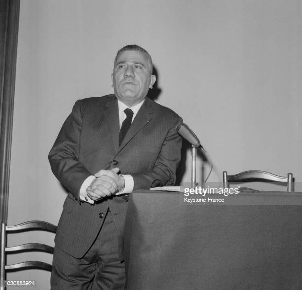 Alexandre Sanguinetti Ministre des Anciens Combattants et des Victimes de guerre donne un conférence de presse pour le cinquantenaire de la Bataille...