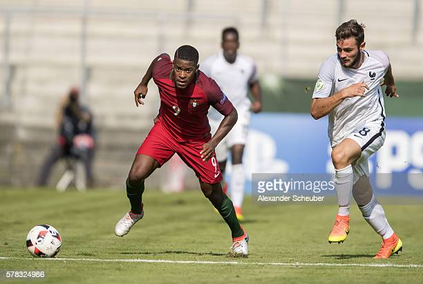 Alexandre Silva of Portugal challenges Lucas Tousart of Frankreich during the U19 match between Portugal and France at CarlBenzStadium on July 21...