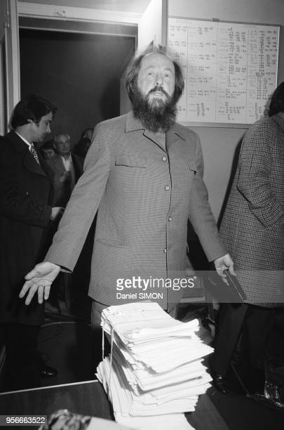 Alexandre Soljenitsyne à Paris le 9 mars 1976 France