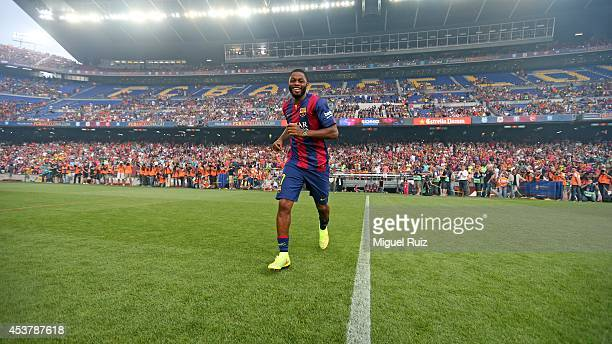 Alexandre Song of FC Barcelona, is presented to the supporters before the Joan Gamper Trophy match between FC Barcelona and Leon CF at Camp Nou on...