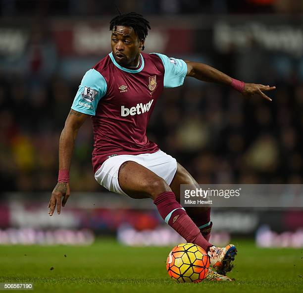 Alexandre Song of West Ham United in action during the Barclays Premier League match between West Ham United and Manchester City at Boleyn Ground in...