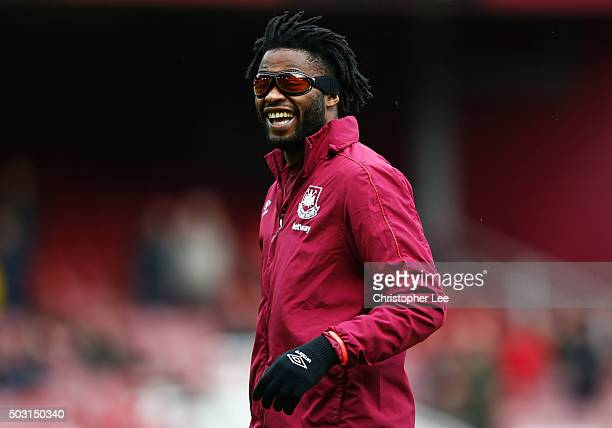 Alexandre Song of West Ham United warms up prior to the Barclays Premier League match between West Ham United and Liverpool at Boleyn Ground on...