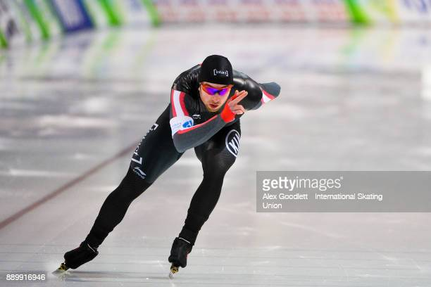 Alexandre StJean of Canada competes in the men's 1000 meter final during day 3 of the ISU World Cup Speed Skating event on December 10 2017 in Salt...