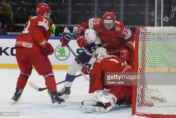 Alexandre Texier of Francein action with Pavel Vorobei of Belarus during the 2018 IIHF Ice Hockey World Championship Group A between France and...