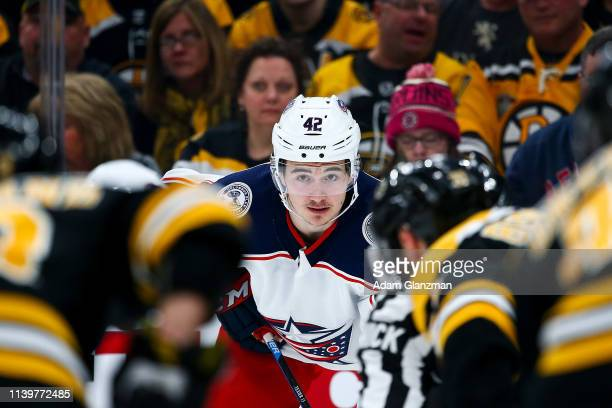 Alexandre Texier of the Columbus Blue Jackets look on in Game Two of the Eastern Conference Second Round against the Boston Bruins during the 2019...