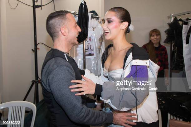 Alexandre Vauthier and Bella Hadid pose Backstage prior the Alexandre Vauthier Spring Summer 2018 show as part of Paris Fashion Week on January 23...