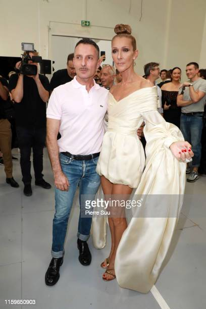 Alexandre Vauthier and Celine Dion are seen backstage after the Alexandre Vauthier Haute Couture Fall/Winter 2019 2020 show as part of Paris Fashion...