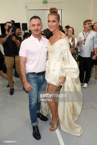 Alexandre Vauthier and Celine Dion are seen backstage prior the Alexandre Vauthier Haute Couture Fall/Winter 2019 2020 show as part of Paris Fashion...
