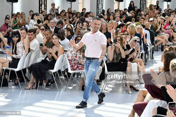 Alexandre Vauthier walks the runway after the Alexandre Vauthier Haute Couture Fall/Winter 2019 2020 show as part of Paris Fashion Week on July 02...