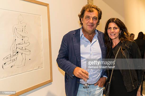 Alexandre Vilgrain and Denise Vilgrain attend the Georg Baselitz exhibition preview and dinner at Thaddeus Ropac Gallery on September 7 2013 in...