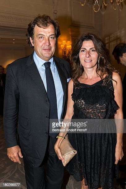 Alexandre Vilgrain and his wife Denise attend a charity dinner hosted by the Claude Pompidou foundation at Four Seasons Hotel George V on September...