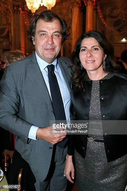 Alexandre Vilgrain and his wife Denise Vilgrain attend the dinner party of the Societe Des Amis Du Musee D'Orsay at Musee d'Orsay on March 24 2014 in...