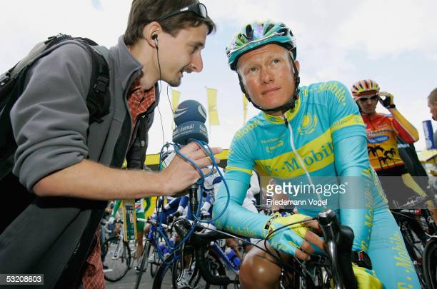 Alexandre Vinokourov of Kazakhstan and the T-Mobile team is interviewed before the stage 6 of the 92nd Tour de France between Troyes and Nancy on...