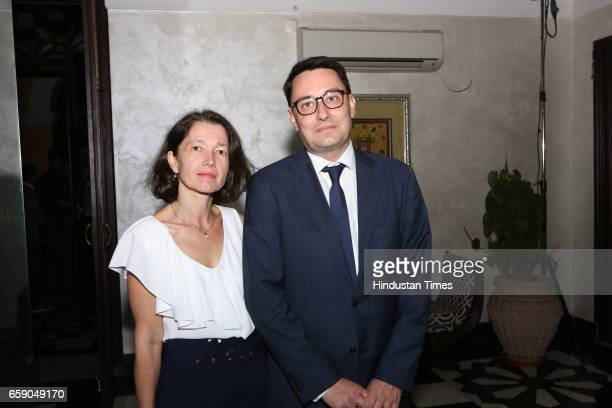 Alexandre Ziegler the French ambassador with wife Veronique during an exhibition titled 'Paris New Delhi From Haute Couture to the Technologies of...