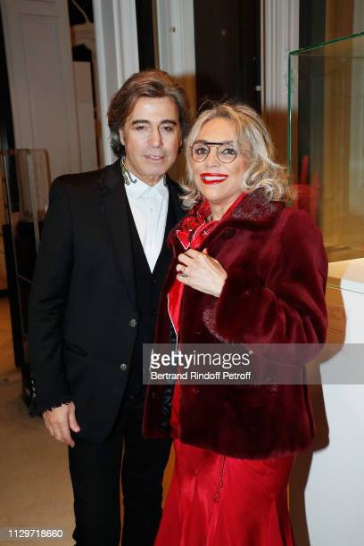 Alexandre Zouari and Soraya Kahtami attend 'Le Monde de Marie Beltrami' exhibition at Artcurial on February 14 2019 in Paris France