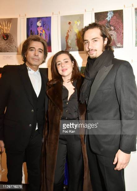 Alexandre Zouari chronicler Lily Bloomand Andrey Zouari attend 'Le Monde de Marie Beltrami' Exhibition Preview at Art Curial on February 14 2019 in...