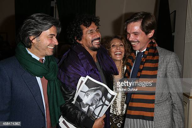 Alexandre Zouari Haider Ackermann Marisa Berenson and Elie Top attend the 'Loulou de la Falaise' book signing on November 5 2014 in Paris France