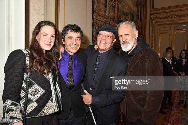 Alexandre Zouari Kenzo Takada and Satya Oblet and Ruth Obadia attend as Kenzo Takada receives the Medal of Chevalier de La Legion d'Honneur at...
