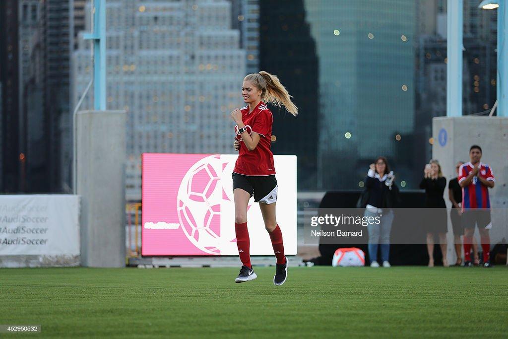 Alexandria Morgan at the Audi Soccer Pick-Up Game at Pier 2 at Brooklyn Bridge Park on July 30, 2014 in Brooklyn borough of New York City.