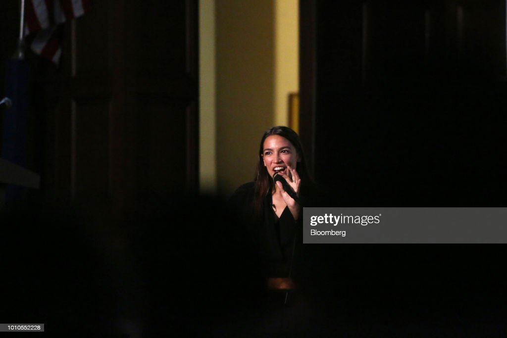 Alexandria Ocasio-Cortez, a Democratic U.S. Representative candidate from New York, speaks during an event at the First Unitarian Church of Los Angeles in Los Angeles, California, U.S., on Friday, Aug. 3, 2018. Ocasio-Cortez campaigned on abolishing ICE en route to her stunning upset primary victory in a New York City district against a top House Democrat. Photographer: Dania Maxwell/Bloomberg via Getty Images