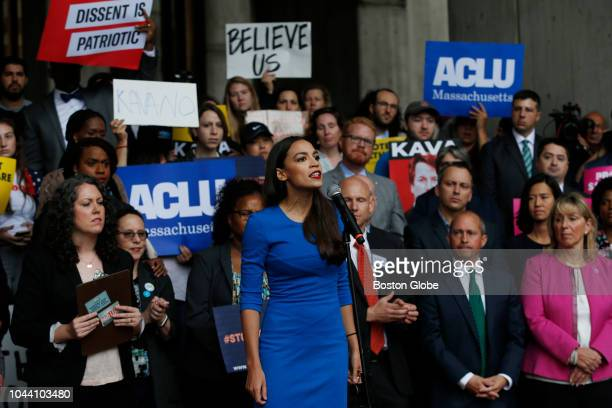 Alexandria OcasioCortez addresses a rally held to call on Senator Jeff Flake to reject Judge Brett Kavanaugh's nomination to the Supreme Court The...