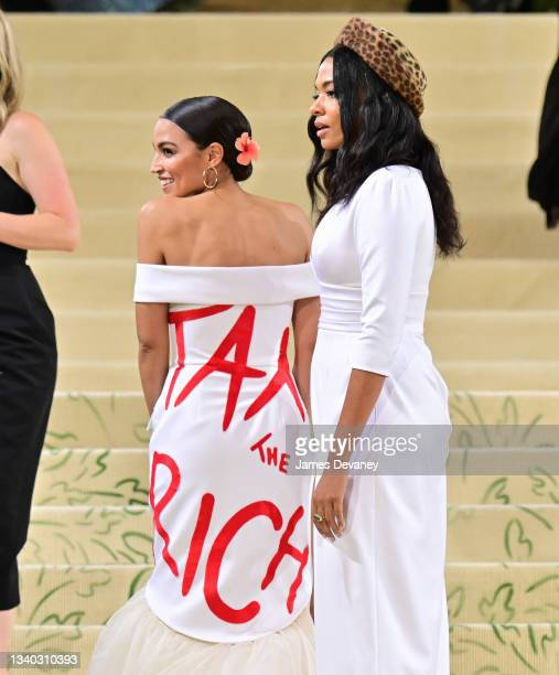 Alexandria Ocasio-Cortez and Aurora James arrives to the 2021 Met Gala Celebrating In America: A Lexicon Of Fashion at Metropolitan Museum of Art on...
