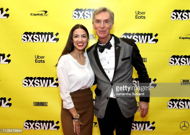 Alexandria Ocasio-Cortez and Bill Nye attend Featured Session: Alexandria Ocasio-Cortez and the New Left during the 2019 SXSW Conference and...