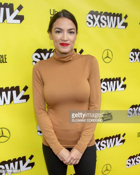 Alexandria OcasioCortez attends Knock Down The House movie premiere during the 2019 SXSW conference and Festivals at the Paramount Theatre on March...