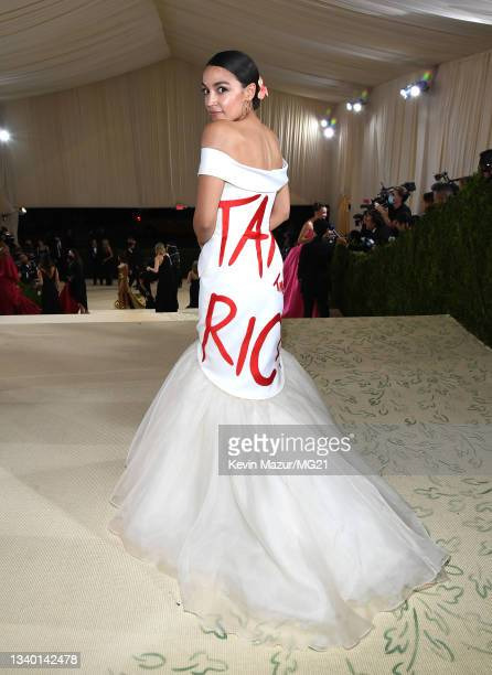 Alexandria Ocasio-Cortez attends The 2021 Met Gala Celebrating In America: A Lexicon Of Fashion at Metropolitan Museum of Art on September 13, 2021...