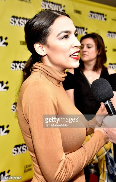 Alexandria OcasioCortez attends the premiere of 'Knock Down This House' during the 2019 SXSW Conference And Festival at the Paramount Theatre on...