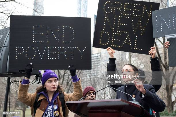 Alexandria OcasioCortez Democratic House Of Representatives address the crowd and kicks off the 3rd Annual Woman's March in the borough of Manhattan...