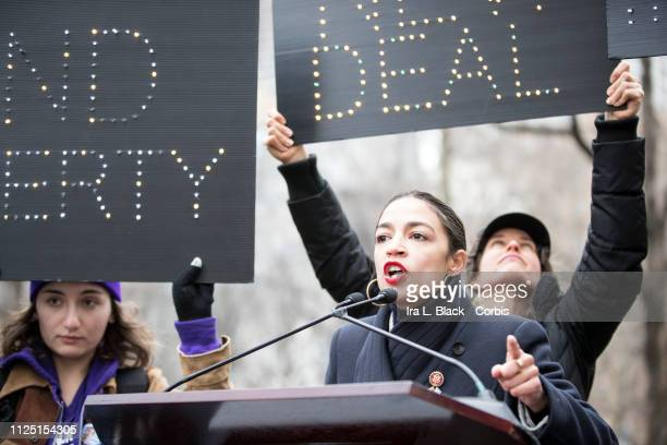 Alexandria OcasioCortez Democratic of the 14th congressional district of the House Of Representatives addresses the crowd with a passionate speech to...