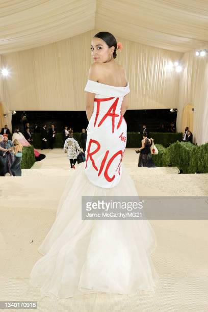 Alexandria Ocasio-Cortez departs The 2021 Met Gala Celebrating In America: A Lexicon Of Fashion at Metropolitan Museum of Art on September 13, 2021...