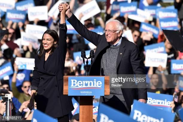 Alexandria OcasioCortez endorses 2020 democratic presidential candidate Bernie Sanders at a Bernie Sanders campaign rally in Queensbridge Park on...