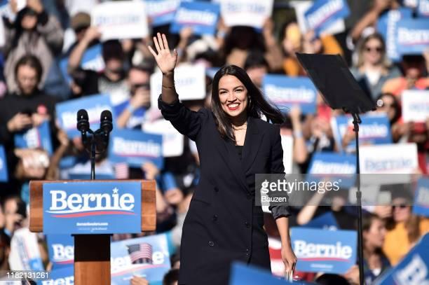 Alexandria Ocasio-Cortez endorses 2020 democratic presidential candidate Bernie Sanders at a Bernie Sanders campaign rally in Queensbridge Park on...