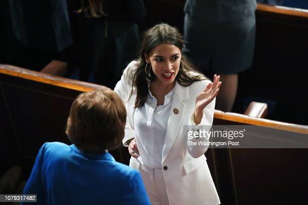 Alexandria OcasioCortez is seen as the 116th United States Congress convenes on Thursday January 03 2019 in Washington DC