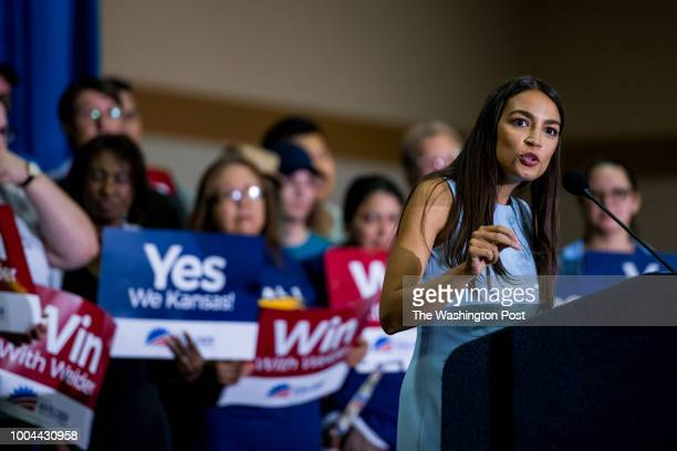 Alexandria OcasioCortez speaks in support of Brent Welder during a rally at The Reardon Convention Center on Friday July 20 2018 in Kansas City KS