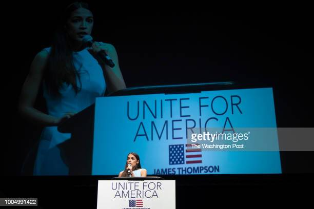Alexandria OcasioCortez speaks to a crowd of 3000 people at a campaign rally in Wichita Kansas on July 20 2018 Bernie Sanders held a rally with...