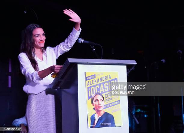 Alexandria OcasioCortez speaks to her supporters during her election night party in the Queens Borough of New York on November 6 2018 28yearold...