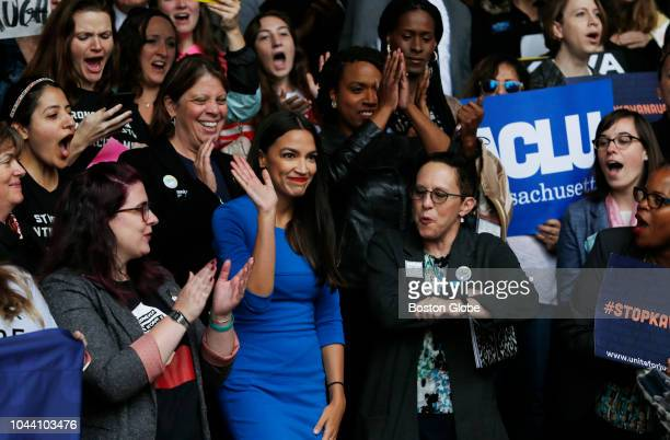 Alexandria OcasioCortez waves to the crowd before addressing a rally held to call on Senator Jeff Flake to reject Judge Brett Kavanaugh's nomination...